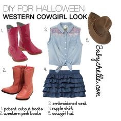 """DIY for Halloween - Western Cowgirl Look"" by babychelle on Polyvore  www.babychelle.com"