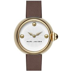 Women's Marc Jacobs 'Courtney' Leather Strap Watch, 28Mm (12.770 RUB) ❤ liked on Polyvore featuring jewelry, watches, chunk jewelry, leather strap watches, chunky jewelry, marc jacobs jewellery and cabochon jewelry