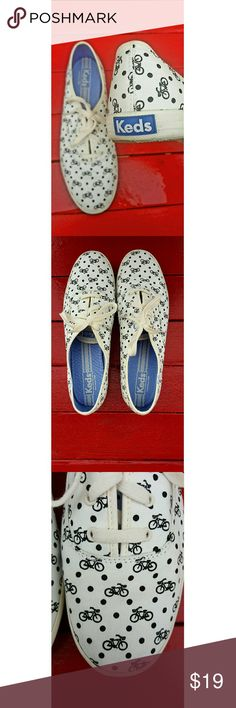 *CCO* sz 11 Keds Women Champion Bike Dot Sneakers Size 11 women's lace-up sneakers with a playful bicycle print throughout. In excellent used condition other than a small mark on the right toe, visible in the 3rd picture. Keds Shoes Sneakers