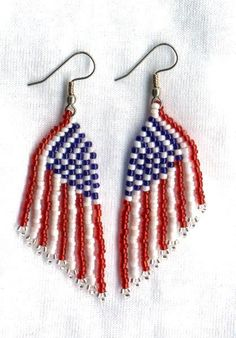 Beaded  PATRIOTIC American FLAG Seed Beads Earrings by FoxyMomma