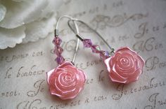 Cottage pink Rose earrings long drop romantic legant flower shabby chic silver jewellery accessory wedding bridal bridesmaids