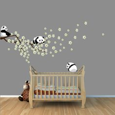 Panda Cherry Tree Wall Decals, White Cherry Blossoms Branch, Sakura, Panda Bear Wall Decals, Pandas Stickers except sky blue wall paint Nursery Wall Decals, Nursery Room, Nursery Decor, Wall Decor, Baby Bedroom, Baby Room Decor, Kids Bedroom, White Cherry Blossom, Cherry Tree