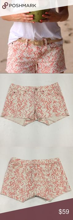 "GAP Sumer Cut-offs Cream with Orange Chevrons B10 Super comfortable worn twice, shorter than I like to wear. Unfinished hem. Defects: None Condition: Excellent  Length: shoulder waist to hem Bust: flat across Under bust:  flat across Sleeve: shoulder to cuff Shoulder: flat across Waist: 15"" flat across Rise:  7.5"" Front,   13"" Back Inseam: 2.5"" Leg Opening: 10.5"" flat across  Smoke free home with cats and dogs. No Dry clean or stain treatments due to skin allergy. GAP Shorts"