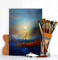 by Viaina Gonzalez  christmas tree lights nature holidays red blue sunset landscape Landscape