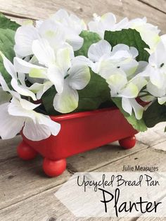 Upcycled Bread Pan Planter  Take an old beat up bread pan and give it a new use! Turn your pan into a planter perfect for a centerpiece.