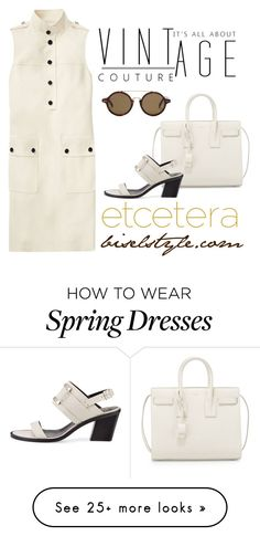 """""""Urban Safari white dress - Etcetera Spring 2017"""" by biseletcetera on Polyvore featuring Yves Saint Laurent and CÉLINE"""