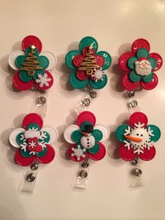 CHRISTMAS flip off holiday Registered Nurse ID BADGE Holder - (made from colorful medication vial caps)
