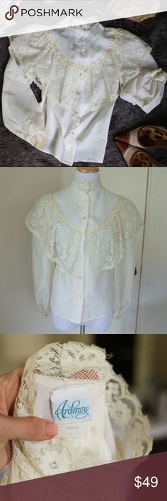Vintage Edwardian Collar Lace Statement Blouse This vintage Edwardian/ highcollar blouse is super trendy, and it takes a super trendy person to pull off. Pair it with skinny jeans and heels or a long Maxi skirt (Plaid? Check my closet!) for the trendiest look! Statement piece for sure, one of a kind! Vintage Tops Blouses