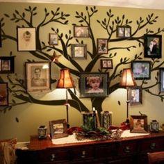 Giant Family Photo Tree Wall Decal Wall Sticker Vinyl Mural Art for Home Decor Room Decor (black)