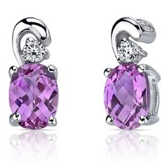 Peora.com - 2 cts Oval Cut Pink Sapphire Sterling Silver Earrings SE7166, $24.99 (http://www.peora.com/sleek-and-radiant-2-00-carats-pink-sapphire-earrings-in-sterling-silver-style-se7166/)
