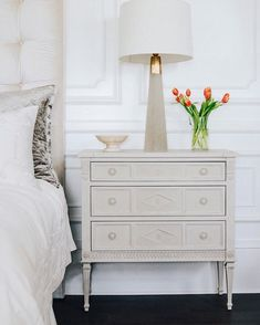 With clean Swedish inspired lines and a soft grey finish, this petite dresser is as pretty as it is versatile. We love using it as a bedside table or entryway piece Three Drawer Dresser, Dresser Drawers, Dresser As Nightstand, Bedside, Painted Furniture, Bedroom Furniture, Hand Carved, It Is Finished, Carving