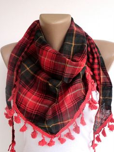 red green girly plaid scarf  women accessory  NEW by scarvesCHIC, $24.50