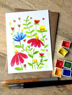 Postcard with pretty floral, botanical print door XantheCS op Etsy