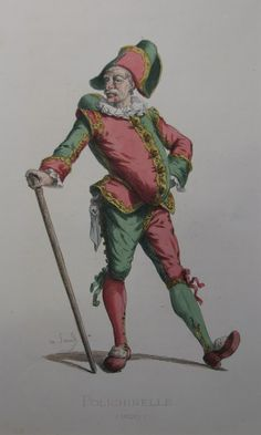 Polichinelle. Maurice Sand 1820 France hand coloured print 29cm - 38cm