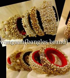 Lovely Silk Thread Bangles, Thread Jewellery, Fabric Jewelry, Beaded Necklace Patterns, Jewelry Patterns, Indian Jewellery Design, Indian Jewelry, Hand Accessories, Bridal Bangles