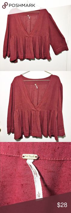 FREE PEOPLE Linen Top Free People 3/4 Sleeve linen top. Like new! Size Large. Free People Tops