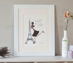 """Illustration de Paris """"J'aime Paris"""", Paris art, affiche de Paris, Paris print, impression numérique Paris By Sandra Maestrini de la boutique SandraMaestrini sur Etsy"""