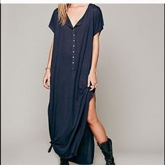 Free people maxi Fp maxi size xs. Can fit multiple sizes though. Color is steel . Like a bluish grey . fp sandals size 8 but could fit up to a 9 . These both look great together . This listing is for maxi dress only !! Free People Other