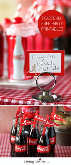 Cherry Coke Float Cupcakes in Coca-Cola Cans. The best chocolate dessert! A fun cake idea for a birthday. Also get Free Printables for a Football Party. Best Chocolate Desserts, Chocolate Cake Mixes, Chocolate Cupcakes, Coke Cupcakes, Coca Cola Party, Coke Float, Fall Drinks, Party Printables, Free Printables