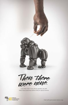 A series of posters and social media assets for African Conservation Foundation to raise awareness about the dwindling numbers of African wildlife due Cgi, Then There Were None, Campaign Posters, Animal Graphic, Nature Posters, Social Awareness, Balloon Animals, Animal Posters, Wildlife Conservation