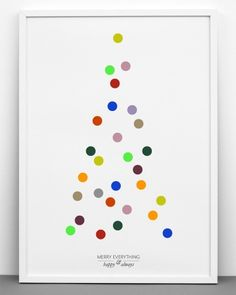 Lovely Christmas tree poster idea for kids - create a tree with multicoloured stickers!