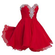 Amazon.com: VILAVI Women's A-line Sweetheart Short Chiffon Rhinestone Homecoming Dresses: Clothing