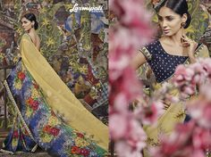 Get prepare to stun the audience with the look that appeals showers of admiration as it hugs surprising color touch with catchy designer printed #georgettesarees.  #Fashion #friend #Outfit #HIMTARA0616