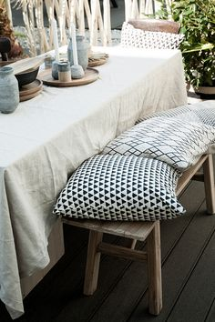 Transform your outdoor area with stylish cushions, tablecloths and blankets to create a comfortable space to eat, read and rejuvenate! @April and May | H&M Home