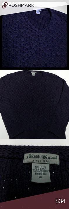 """Eddie Bauer Purple XL Sweater Eddie Bauer Sweater Deep Purple Crochet pattern Warm and thick material yet light weight Size XL Can be use by a Large Size person too 60% Cotton 40% Acrylic  Very Soft Sweater Approx Measurements Chest: 42"""" Length: 23"""" Eddie Bauer Sweaters"""