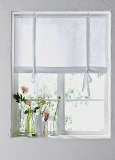 Summer curtains: 7 budget tips - Inredningsvis Kitchen Window Coverings, Window Sill Decor, Elegant Curtains, Modern Curtains, Minimalist Window, Curtain Inspiration, Condo Living, Through The Window, Curtain Designs