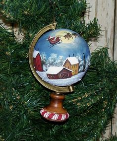 Santa Sleigh Globe--isn't this cool! I love this and think it would be so cool on a full size globe Christmas Globes, Painted Christmas Ornaments, Hand Painted Ornaments, Christmas Art, Winter Christmas, Christmas Decorations, Arte Country, Pintura Country, Painted Globe