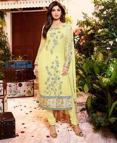 Buy Elegant Yellow Straight Cut Salwar Kameez online at  https://www.a1designerwear.com/elegant-yellow-straight-cut-salwar-kameez-4  Price: $36.95 USD