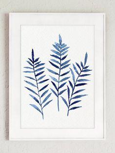 Fern Plant Print Navy Blue Botanical Wall Decor Leaf