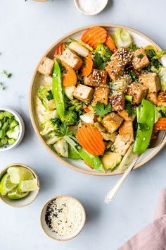 This Ginger Sesame Tofu & Winter Vegetable Stir-Fry recipe is the perfect quick and easy veggie packed weeknight meal for two! Healthy Recipes, Stir Fry Recipes, Entree Recipes, Lunch Recipes, Vegetarian Recipes, Tofu Recipes, Salad Recipes, Lean Protein Meals, Sesame Tofu