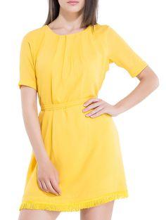 Buy Kazo yellow georgette  poly interlock blouson dress Online, , LimeRoad