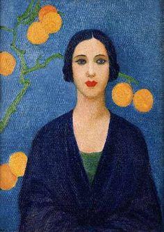 Tarsila do Amaral - Figura em Azul (Fundo com laranjas), 1923 ...