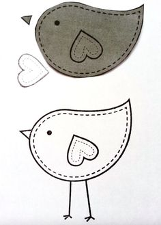 Ideas For Bird Embroidery Pattern Applique Quilts Bird Template, Applique Templates, Applique Designs, Embroidery Patterns Free, Embroidery Designs, Felt Templates, Applique Ideas, Sewing Appliques, Design Templates