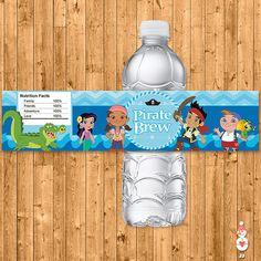 Jake and the Neverland Pirates Water Bottles Blue Chevron -- Neverland Pirates Drink Labels -- Neverland Pirates Birthday -- JNLP
