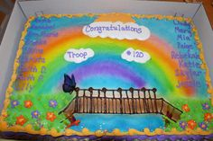 girl scout bridging to junior ceremony | The cake was a very specific request. The girls wanted 1/2 white and 1 ...