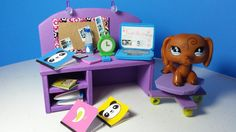 DIY LPS Doll Computer Desk PLUS Accessories (Alarm Clock, Notebooks, Cal...