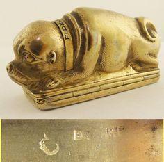 Antique Imperial Russian Gilt Silver Box Tobacco Box Dog Bulldog Pug (#5653) #Russian