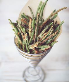 Crispy Baked Parmesan Green Bean Fries | Kitchen Explorers