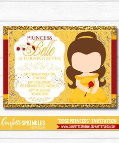"""Belle personalizada """"Princesa rosa"""" niñas cumpleaños fiesta Digital imprimible 4…"""