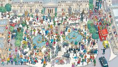 2015 Rugby World Cup Trafalgar Square (Where's Wally Style Image) Wheres Wally, Win Tickets, Storyboard Artist, Trafalgar Square, Rugby World Cup, Tower Of London, Illustrators, City Photo, Painting