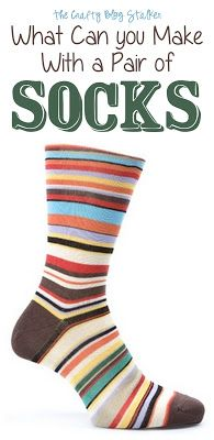 Socks are for more than keeping your toes warm. Create all sorts of fun craft projects using socks! This collection of ideas shows you how. Sock Crafts, Fabric Crafts, Fun Crafts, Sewing Crafts, Fabric Toys, Diy Projects To Try, Craft Projects, Sewing Projects, Sock Dolls