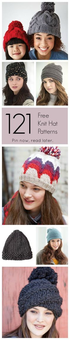 Never pay for a knit hat pattern again! Find every type of knit hat you can think of!   Pin now, read later.   Free Knit Patterns