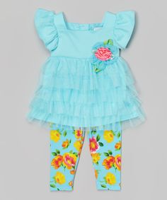 Loving this Turquoise Angel-Sleeve Tunic & Leggings - Infant, Toddler & Girls on #zulily! #zulilyfinds