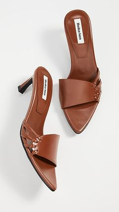 Leather: Cowhide Lightly padded pigskin footbed Covered heel Rubber sole Imported, Korea This item cannot be gift-boxed Measurements Heel: / Strappy Sandals, Blue Sandals, Pumps, Heels, Open Toe, Knots, Footwear, Leather, Shoe Game