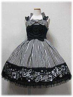Angelic Pretty Fancy Melody JSK [in Black]. I want a dress with music notes for the show!!