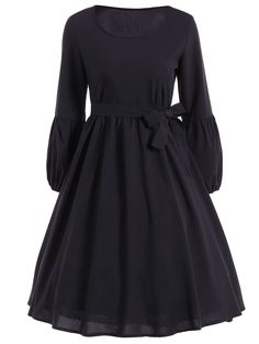 Belted Ruffled Puff Sleeve Vintage Dress in Black | Sammydress.com